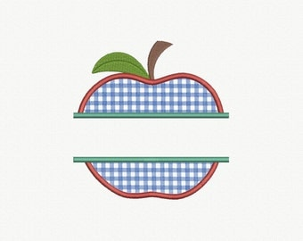Split Apple Applique Machine Embroidery Design - 2 Sizes