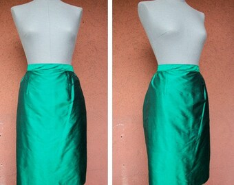 1970's Green Silk Pencil Skirt - 70's Metallic Silk Skirt - Size M