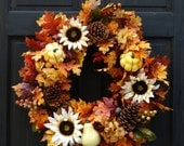 Fall Floral Wreath, Thanksgiving Wreath for Front Door, Wreath for Fall Decor, Pinecone Wreath, Fall Leaf Wreath, White Sunflower Wreath