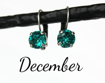 December Birthstone Drop Earrings - 8mm Blue Zircon Swarovski Crystal Earrings