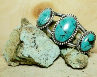 Sterling Silver and Turquoise Bracelet signed by Jim