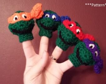 Teenage Mutant Ninja Turtles Finger Puppet Crochet Pattern, ninja turtles finger puppet, TMNT crochet