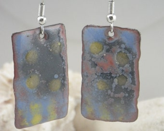 Blue and Yellow Torch Fired Enamel Earrings, Stainless Steel