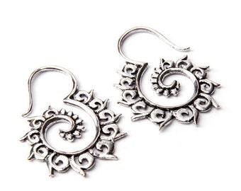 Tribal Hook Earrings White Brass Earrings Tribal Jewelry Gauge Earrings Free UK Delivery Gift Boxed WB2 WBS1