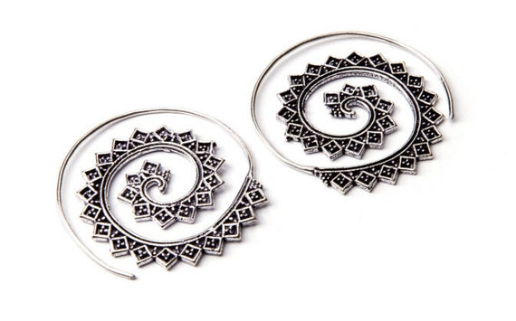 White Brass Medium Size Squares Design Spiral Earrings Tribal Earrings Mandala Jewellery Free UK Delivery Gift Boxed WB22