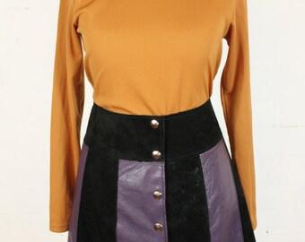 Suede Leather Mini Skirt 90s does 70s A Line Black Purple Stripe High Waist Womens Size 8