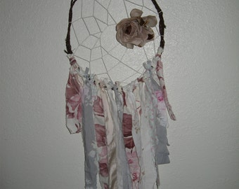 Dream Catcher/Vintage Millinery/Rachel Ashwell fabric/Shabby Chic