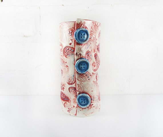Paisley Patterned Vase - Red
