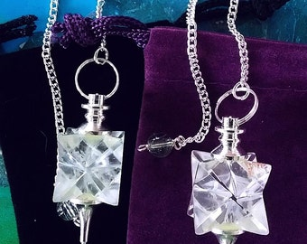 2 QUARTZ CRYSTAL MERKABA Star Silver Mounted Dowsing Pendulums, with Chains and 2 Velvet Pouches, Sacred Geometry, Divination