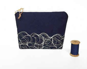 Blue medium zipper pouch with wave embroidery pattern, embroidered pencil case