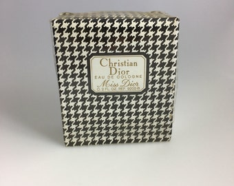 NIB Vintage Celeb Own Miss Dior 2oz Ref 9202-B Sealed EDC Eau Cologne Perfume, Vintage Miss Dior Perfume,  Houndstooth Bottle