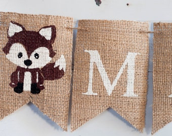 Fox Banner, Fox Personalized Banner, Personalized Name Banner, Nursery Decor, Fox Name Banner, B223