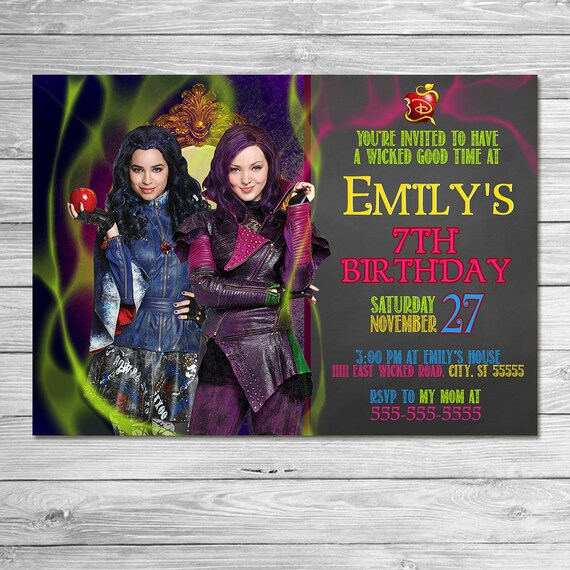 The Descendants Invitation Chalkboard // The Descendants Birthday Party // The Descendants Invite Printable Favors // Mal and Evie