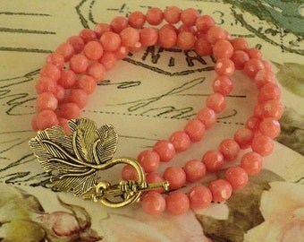 Multi strand pink coral bracelet