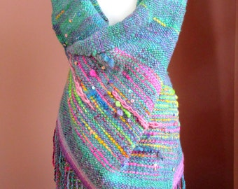Handwoven Saori Wrap Shawl,Saori Large Wool Wrap,Poncho,Woven Outlander.Free Style Weaving,Multicolored Shawl,Handspun Hand Woven,