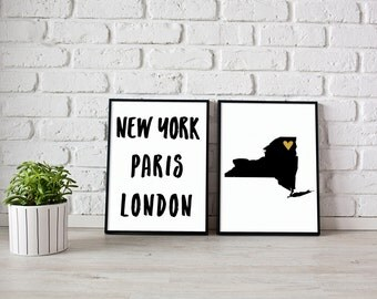 New York Paris London and NYC map - Instant download ,Typography Print - Printable art , Wall art