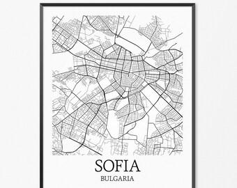 Sofia Map Art Print, Sofia Poster Map of Sofia Decor, Sofia City Map Art, Sofia Gift, Sofia Bulgaria Art Poster