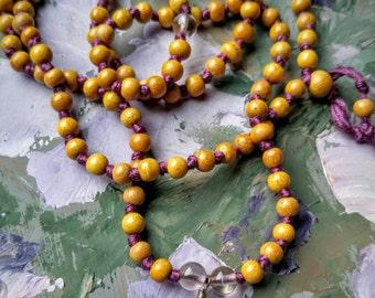 Quartz Mala, Pendant Necklace, Wire Wrapped, Knotted Mala, 108 Beads, Yoga Jewelry