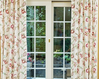 Custom Drapes- Pinch Pleat Drapes, Cotton Drapes, Floral Curtains, Drapery Panels, Window Treatments, Made-to-Order, Jaclynnes Garden, Blush