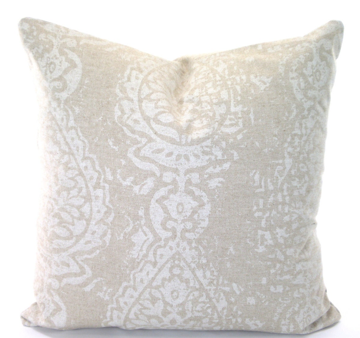 Throw Pillow White : Tan Off White Decorative Throw Pillow by PillowCushionCovers