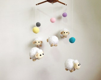 Crochet Baby mobile - Colorful Ball & Sheep baby mobile,Crib mobile, nursery decor,Sheep crochet mobile, Sheep crochet mobile