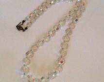 Vintage Aurora Borealis Necklace with Gorgeous Filigree Fish Clasp