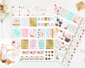 Watercolor Stickers, Ice Cream Stickers, Printable Planner Stickers, To Do Stickers, Cupcake Stickers, Croissant Dessert Bakery Stickers