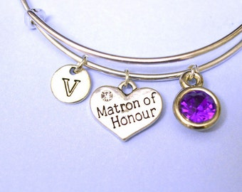 Matron of honor gift, Matron of honor Jewellery, Wedding Jewellery, Be My Maid of Honor Gift, Bridesmaid bracelet,Asking Matron of Honor