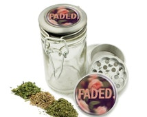 """Faded Floral 1.5"""" Grinder and Glass Jar Combo! 4 Part Aluminum Grinder & Wire Top Glass Stash Jar for Herbs Spice Herbal w/ Free Jar Labels"""