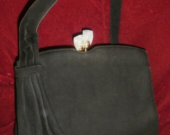 Vintage 1930s/1940s Black Moleskin ' Waldybag ' Handbag with Ornate Clasp