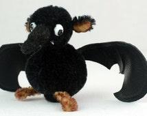 "ooak artist teddy bear ""Drake the bat"" Halloween art doll creepy cute stuffed black mohair art teddy handmade collectible artist bear"