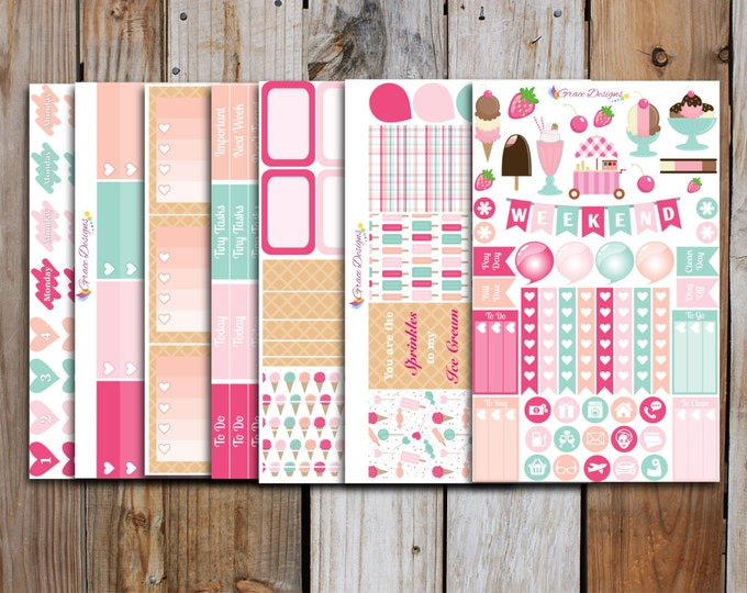 Ice Cream Planner Stickers Kit (7 pages) | for use with ERIN CONDREN Life Planner