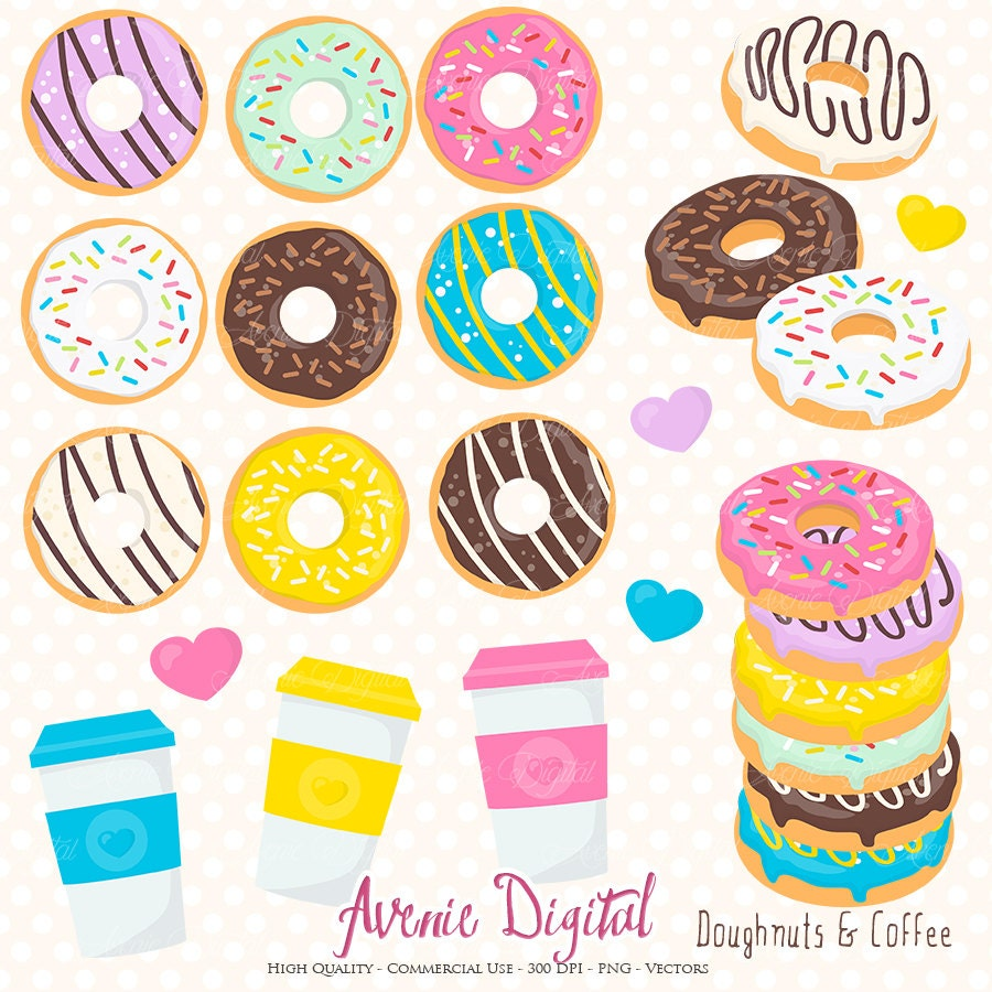 Donut and Coffee Clipart. Scrapbook printables Doughnuts Clip