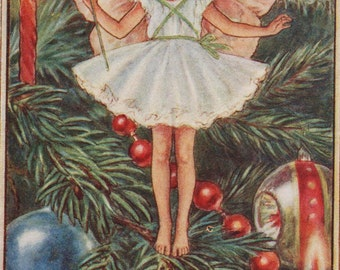 Flower Fairies: The CHRISTMAS TREE FAIRY Vintage Print c1930 by Cicely Mary Barker