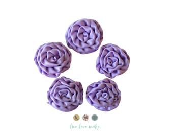 Set of (3)-MINI Lavender Purple-Satin Ruffled Rosettes- Rolled Rosettes- Rosettes- Flower- Supply DIY-Fabric Flower-Rolled-small-petite-mini
