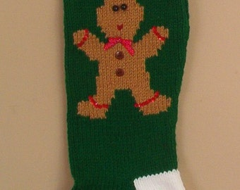 Personalized Knitted Gingerbread Man Christmas Stockings for 2017