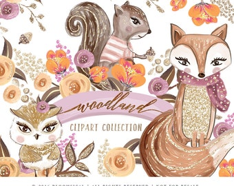 Woodland Clip Art | Hand Drawn Forest Animals Fox Squirrel Owl Flowers Graphics | Planner Stickers, Planner Girl | Digital Cliparts