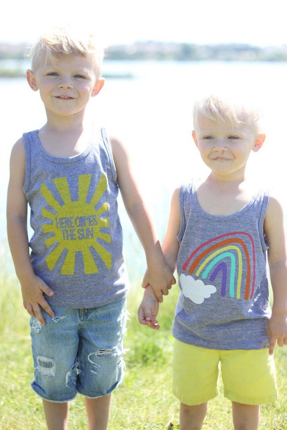 Rainbow Baby Shirt: SET Of 2 Shirts Rainbow And Here Comes The Sun By