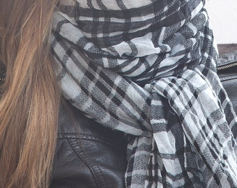 Scarf, winter accessories, handmade scarf, Checkered Scarf, Gift for Boyfriend, Valentine's Day Gift, Summer Scarf, Mother Day Gift