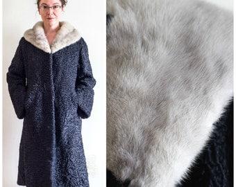 Black Persian lamb coat with silver mink fur collar