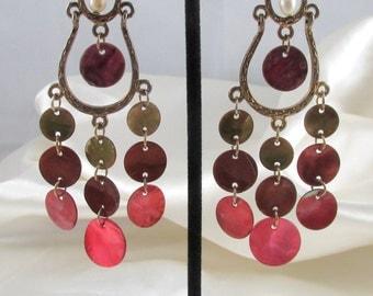 Vintage Copper Chandelier Disk Pierced Dangle Earrings
