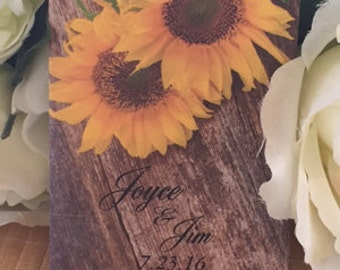 50 Sunflower seed packets, rustic sunflower favors, Sunflower and wood, rustic wood gift, personalized wood favors