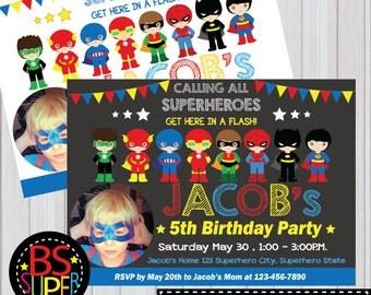 SUPERHERO Invitation, Superhero Birthday Party invitation, Superhero invite, Super Boy invitation