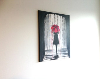 Rainy Day painting, Girl with Red Umbrella Painting, Rainy Day Art, Red Umbrella Art, Umbrella Painting, Nature Art, Female Art Abstract Art