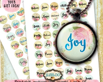 JOY 1 inch circle faith believe peace love romantic roses digital collage sheet magnet stickers pendant instant download printable - tn506