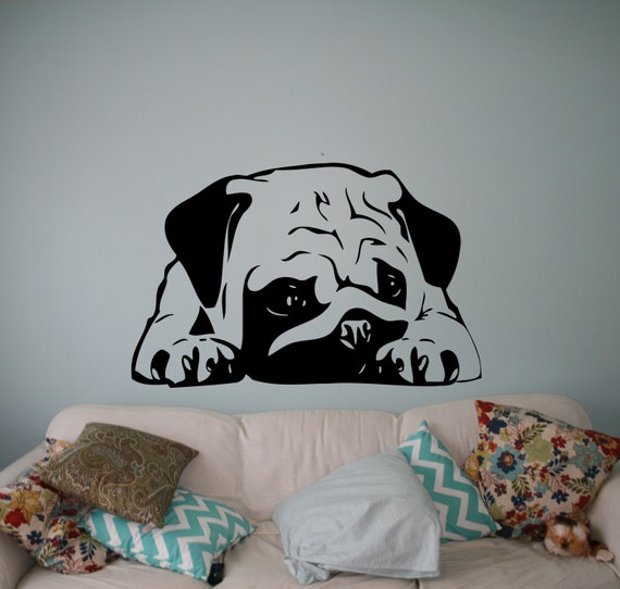 Sleeping Dog Wall Decal Puppy Pug Vinyl Sticker Cute Animals