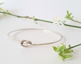 Silver Bangle. Sterling Silver Bracelet  - Bangle Silver Knot Bangle. Round bangle.