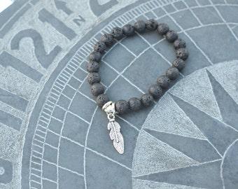 Feather, Lavabead diffuser bracelet, Diffuser Bracelet, Aromatherapy Bracelet, Essential Oils Bracelet, Bracelet, Stretchy bracelet