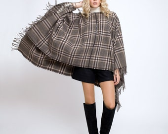 Ava Check wool-blend cape with leather trim and fringe ends