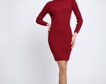 Claudia Red ribbed knit turtle neck dress / merino wool dress / roll neck dress